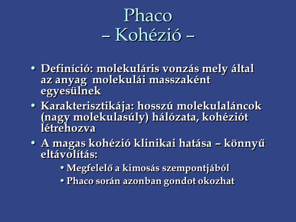 Phaco – Kohézió – Definíció: molekuláris vonzás mely által az anyag molekulái masszaként egyesülnek.