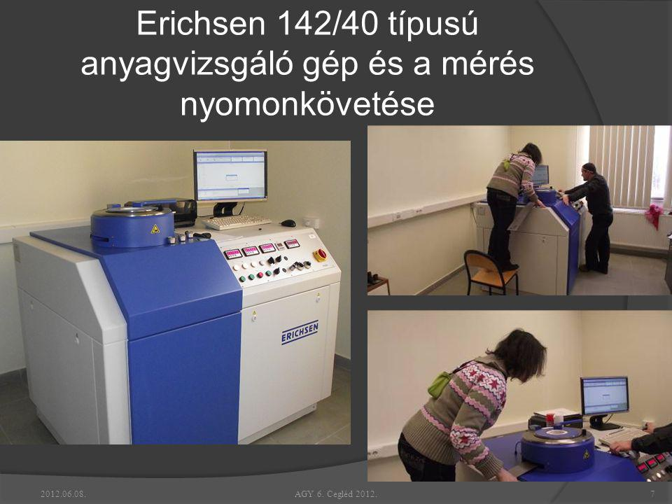 Erichsen 142/40 típusú anyagvizsgáló gép és a mérés nyomonkövetése