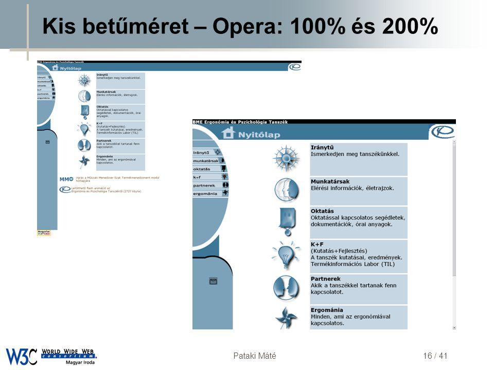 Kis betűméret – Opera: 100% és 200%