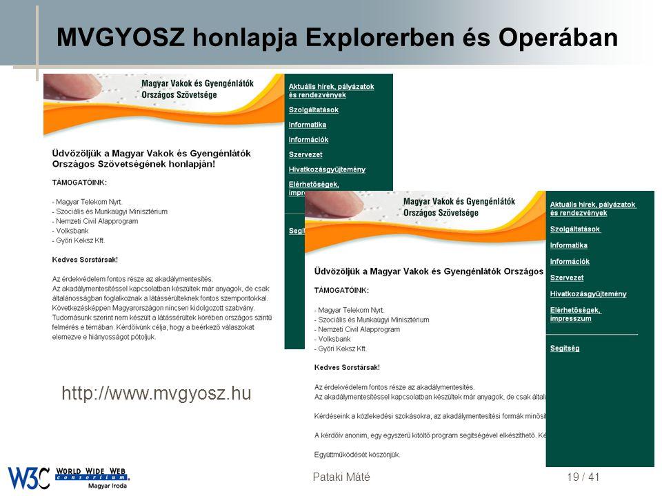 MVGYOSZ honlapja Explorerben és Operában