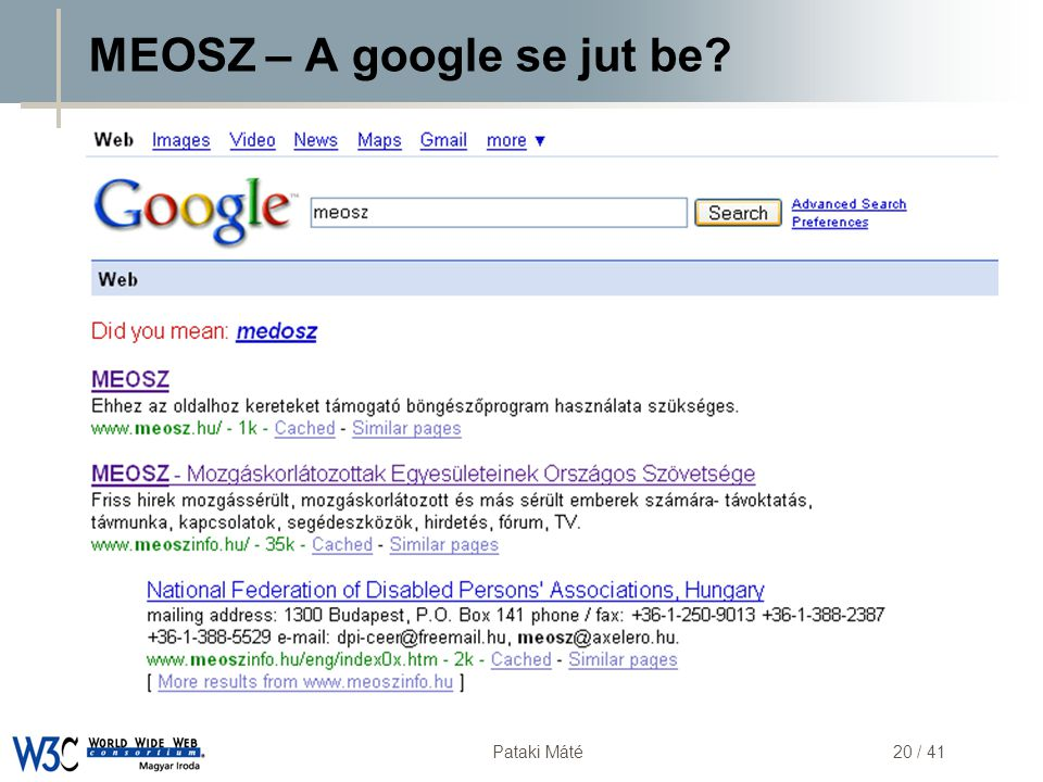 MEOSZ – A google se jut be