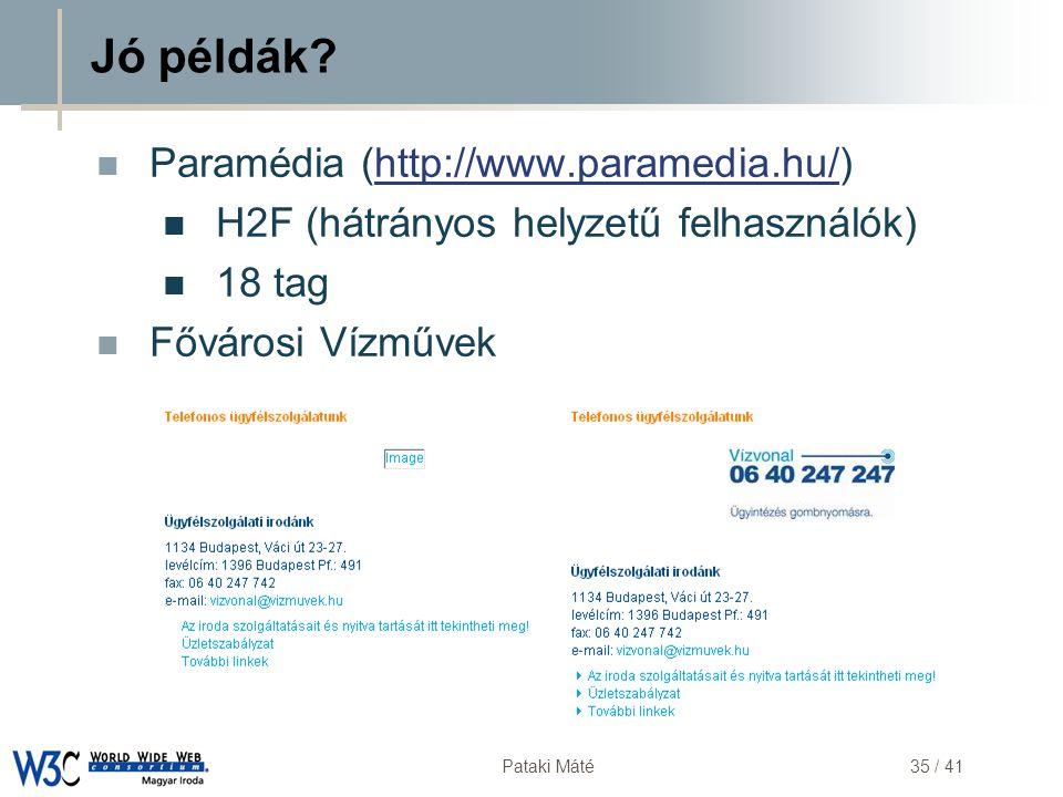 Jó példák Paramédia (http://www.paramedia.hu/)