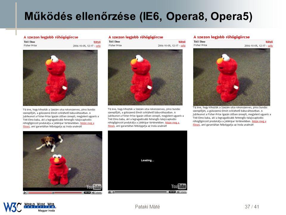 Működés ellenőrzése (IE6, Opera8, Opera5)
