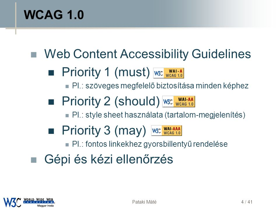 Web Content Accessibility Guidelines Priority 1 (must)