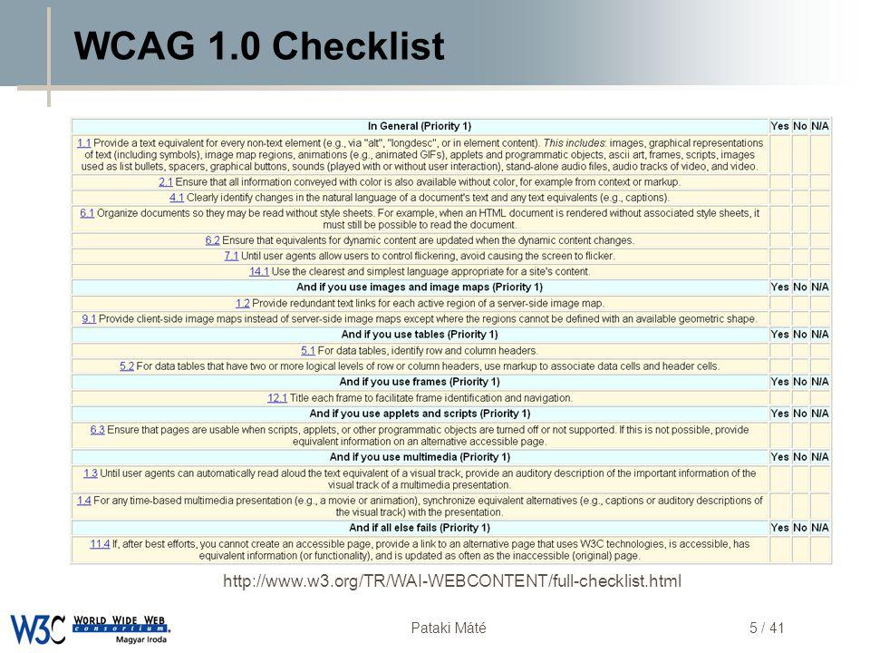 WCAG 1.0 Checklist http://www.w3.org/TR/WAI-WEBCONTENT/full-checklist.html
