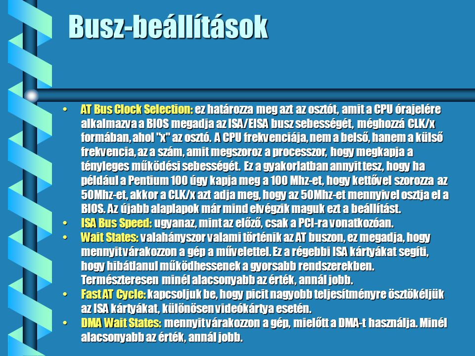 Busz-beállítások