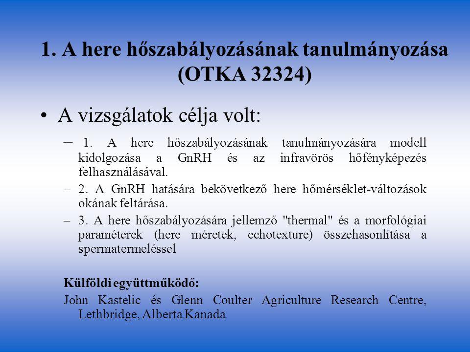 1. A here hőszabályozásának tanulmányozása (OTKA 32324)