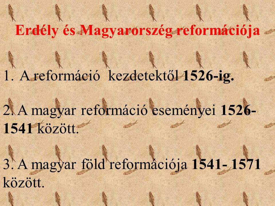 Erdély és Magyarorszég reformációja