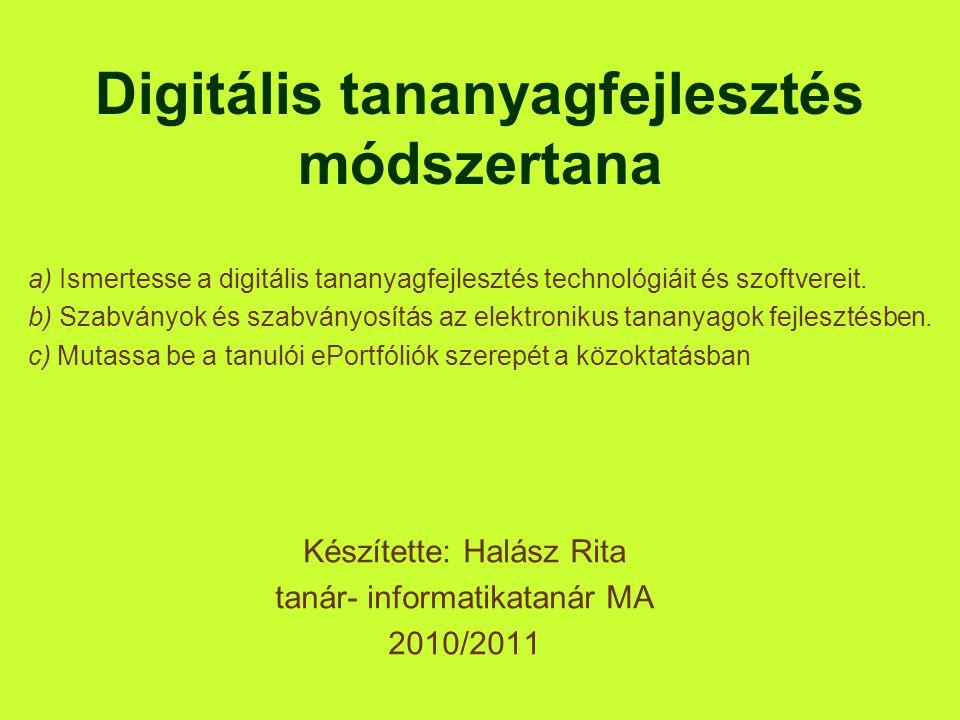 Digitális tananyagfejlesztés módszertana