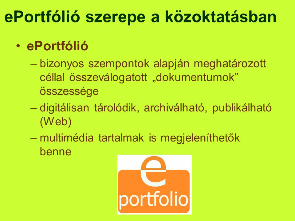 ePortfólió szerepe a közoktatásban
