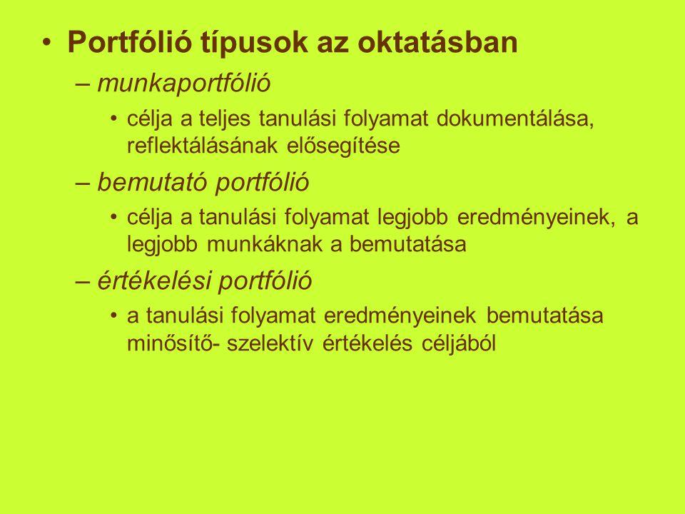 Portfólió típusok az oktatásban