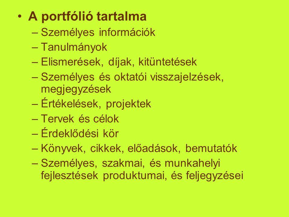 A portfólió tartalma Személyes információk Tanulmányok