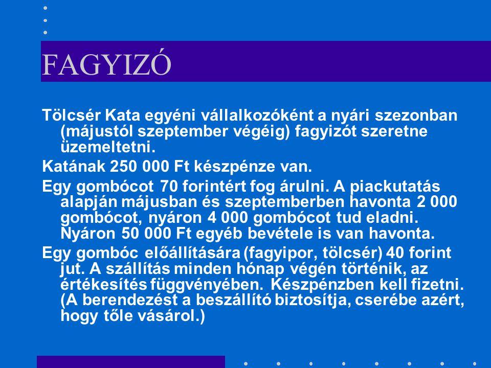 FAGYIZÓ Tölcsér Kata egyéni vállalkozóként a nyári szezonban (májustól szeptember végéig) fagyizót szeretne üzemeltetni.