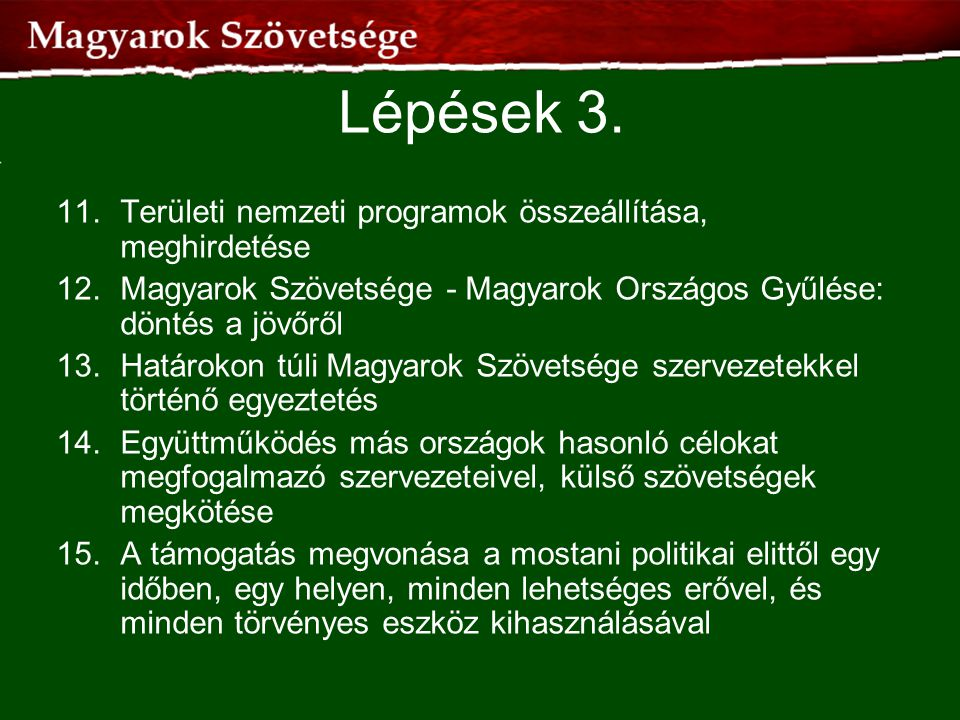 Lépések 3. 11. Területi nemzeti programok összeállítása, meghirdetése