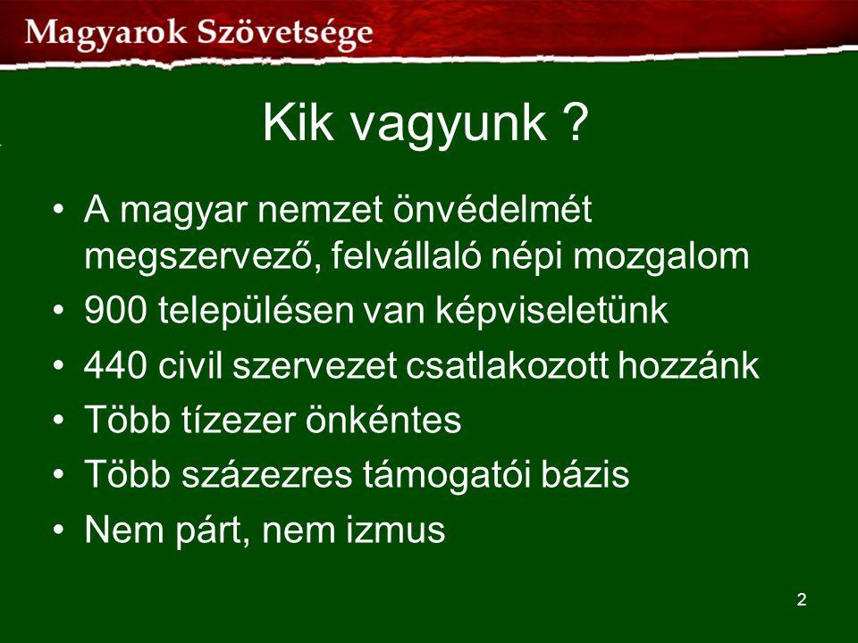 Kik vagyunk A magyar nemzet önvédelmét megszervező, felvállaló népi mozgalom. 900 településen van képviseletünk.