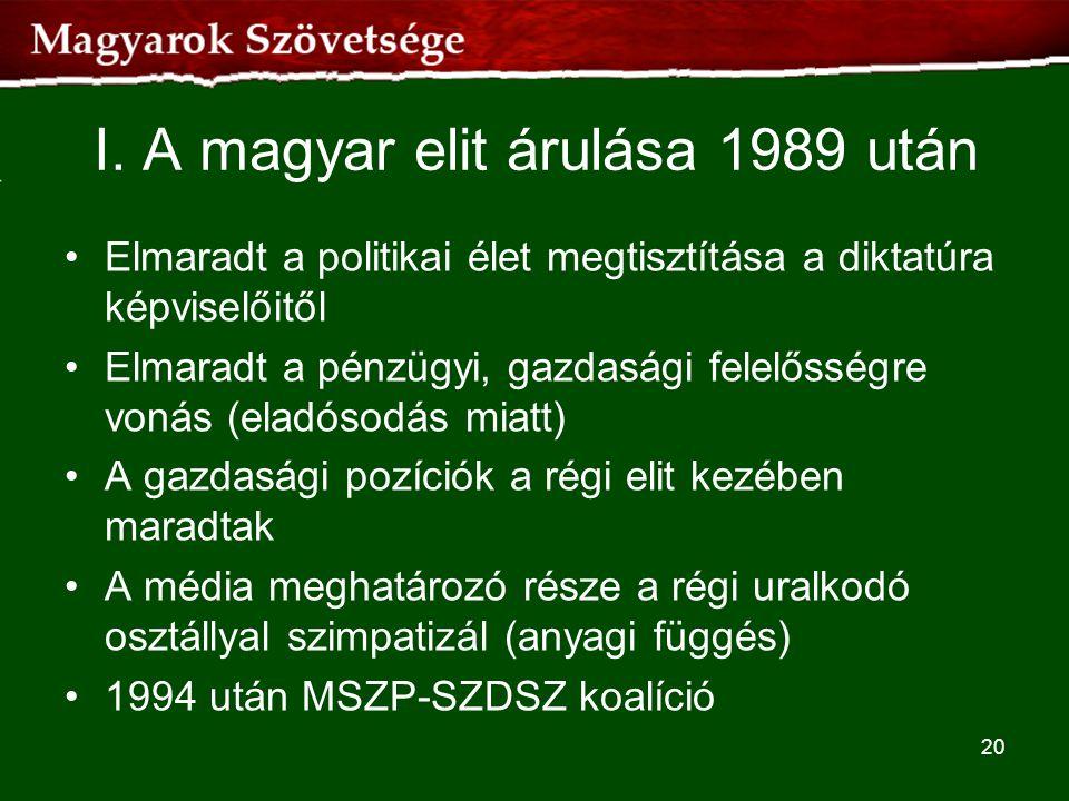 I. A magyar elit árulása 1989 után