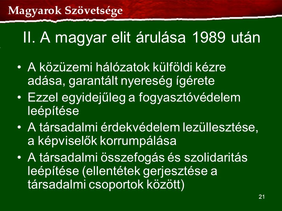 II. A magyar elit árulása 1989 után
