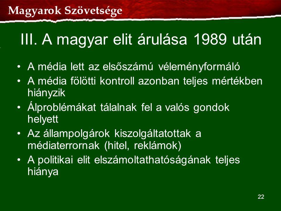 III. A magyar elit árulása 1989 után
