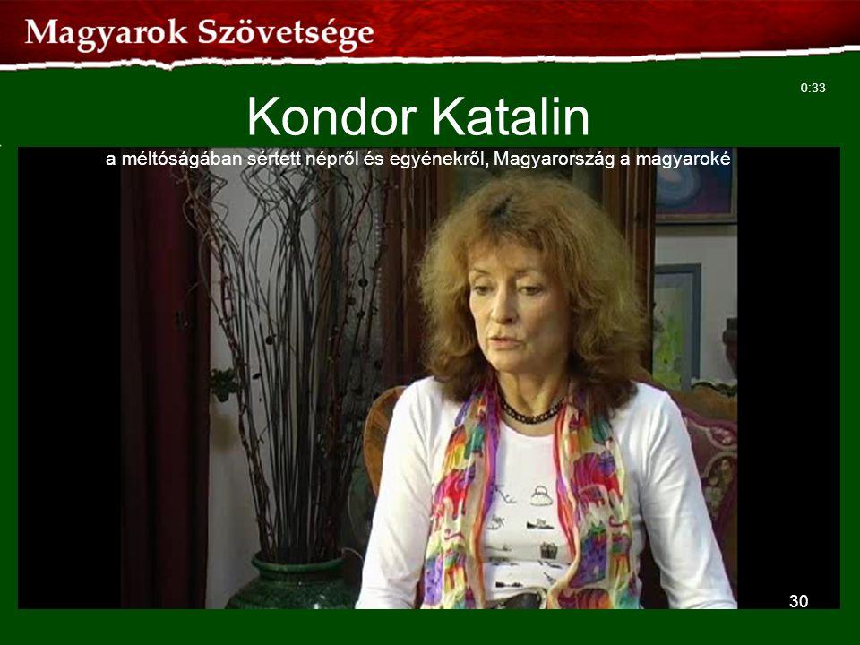 Kondor Katalin a méltóságában sértett népről és egyénekről, Magyarország a magyaroké