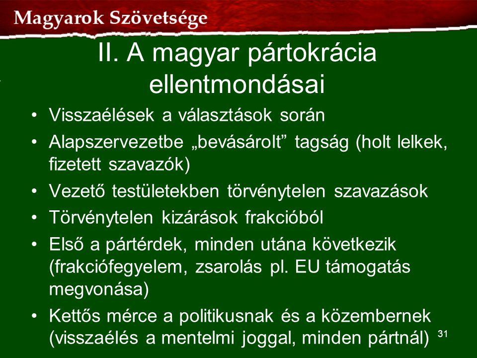 II. A magyar pártokrácia ellentmondásai
