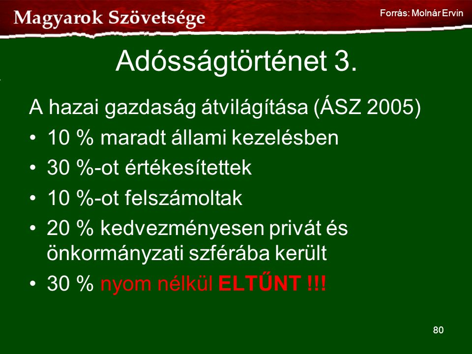 Adósságtörténet 3. A hazai gazdaság átvilágítása (ÁSZ 2005)