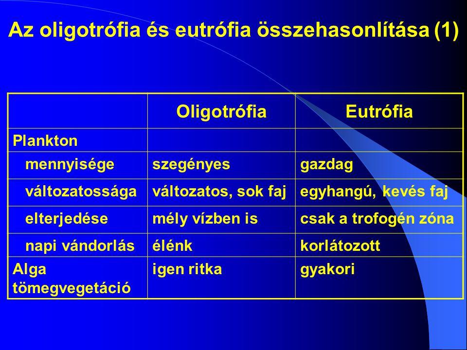 Az oligotrófia és eutrófia összehasonlítása (1)