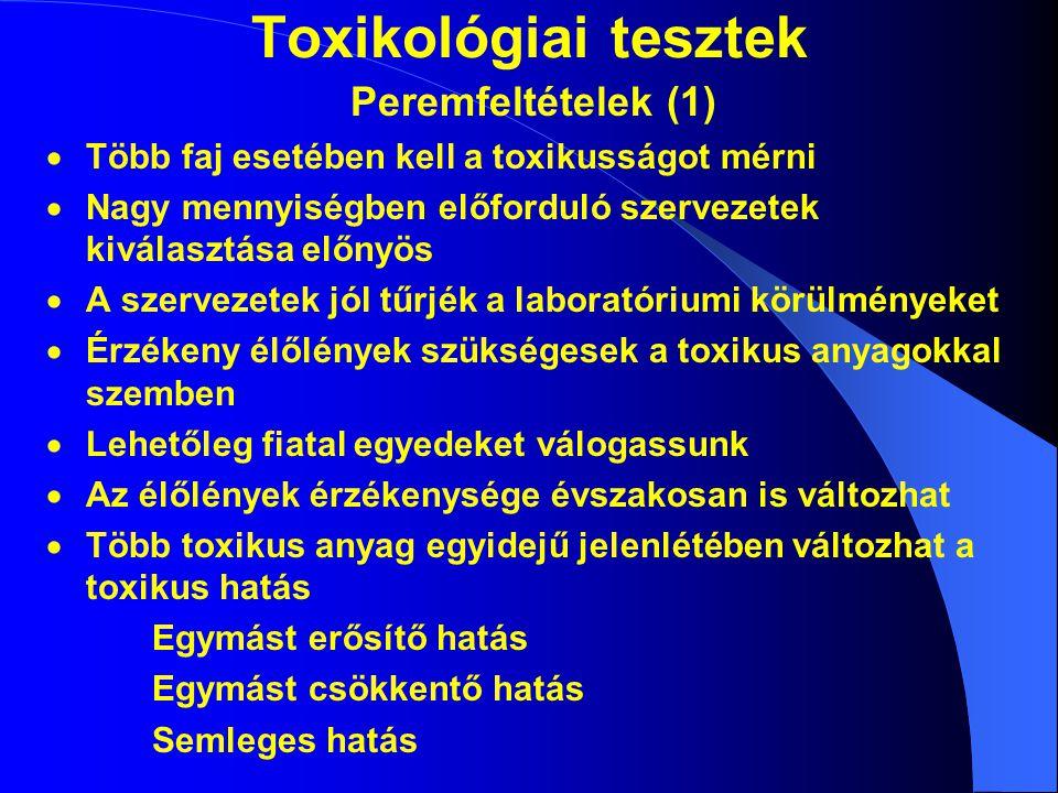 Toxikológiai tesztek Peremfeltételek (1)