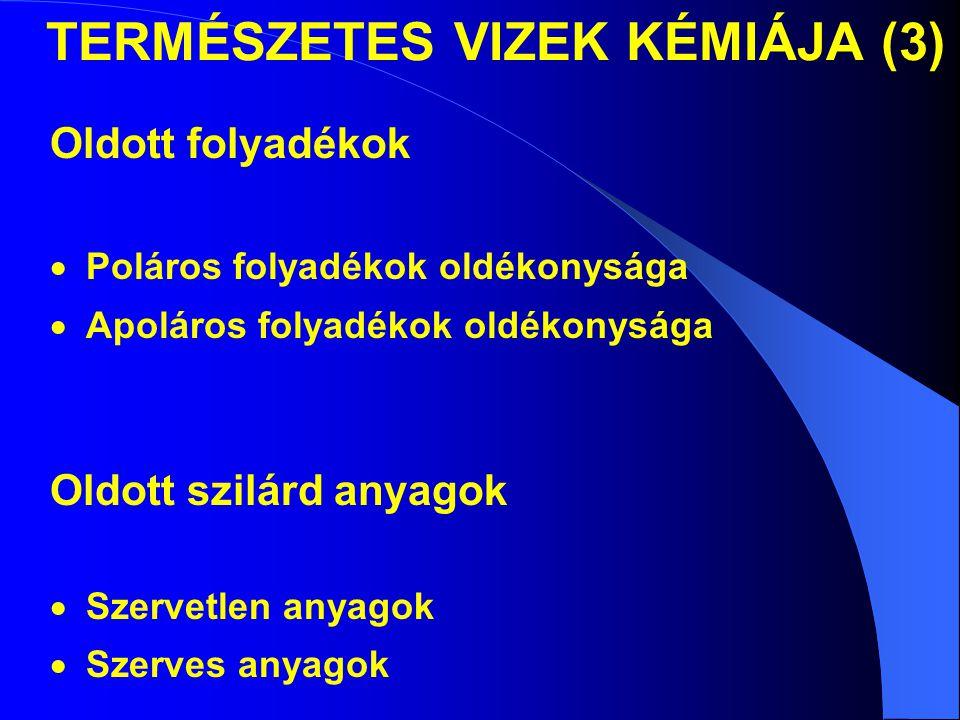 TERMÉSZETES VIZEK KÉMIÁJA (3)