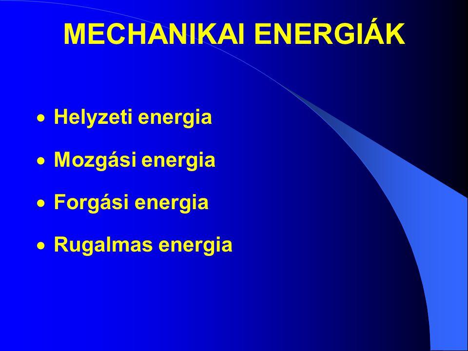 MECHANIKAI ENERGIÁK Helyzeti energia Mozgási energia Forgási energia