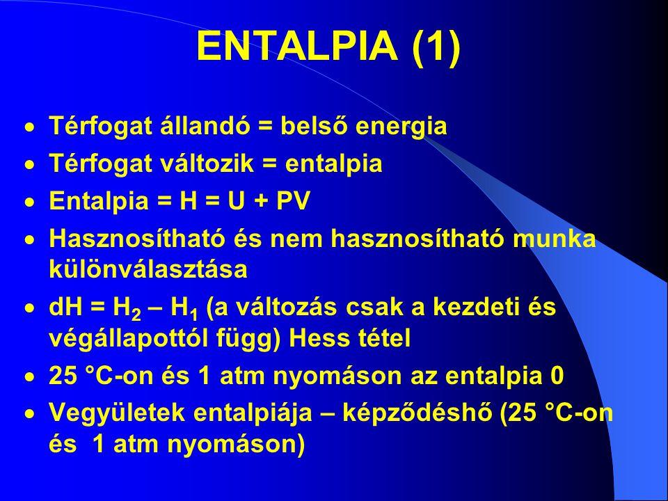 ENTALPIA (1) Térfogat állandó = belső energia