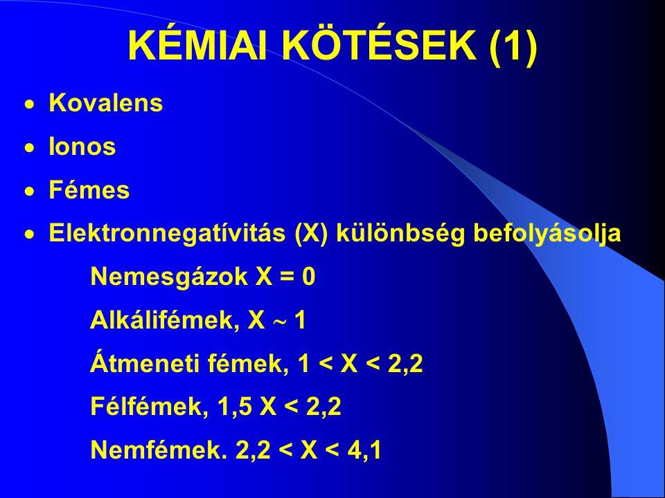 KÉMIAI KÖTÉSEK (1) Kovalens Ionos Fémes