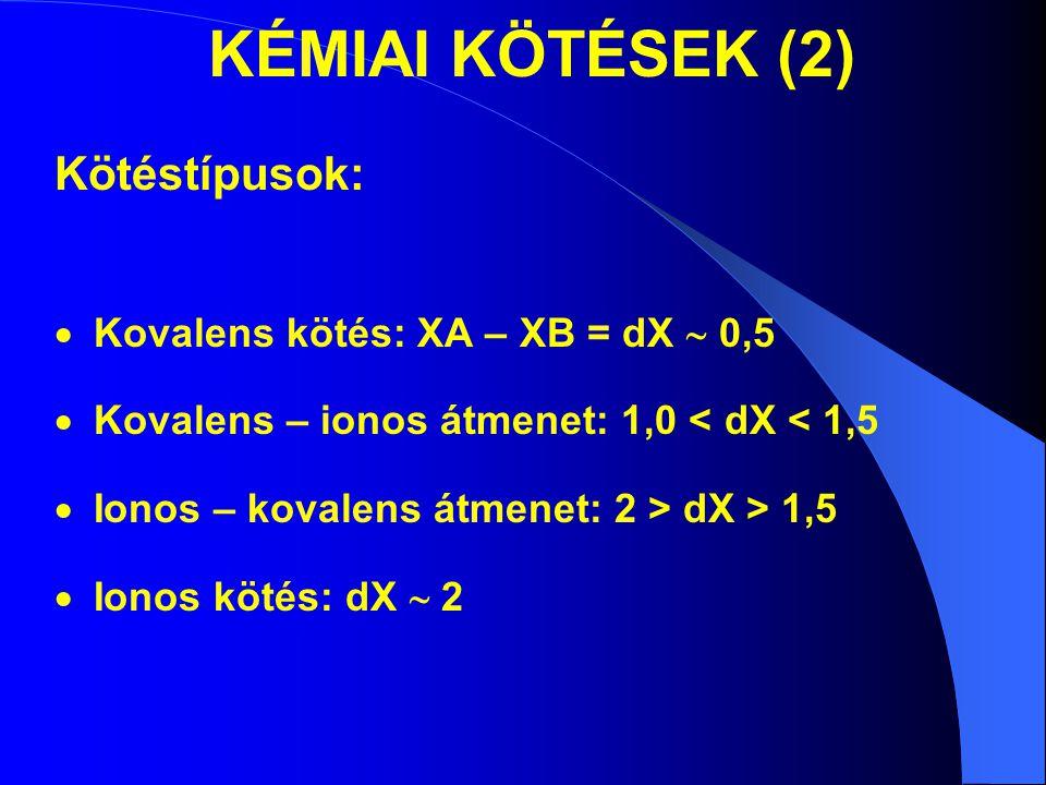 KÉMIAI KÖTÉSEK (2) Kötéstípusok: Kovalens kötés: XA – XB = dX  0,5