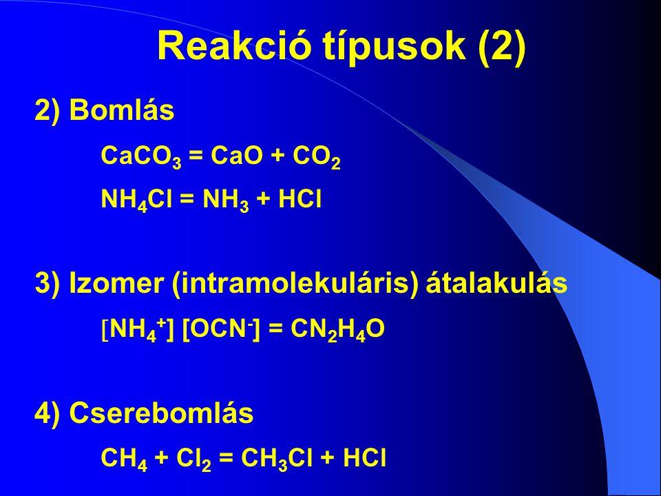 Reakció típusok (2) 2) Bomlás 3) Izomer (intramolekuláris) átalakulás