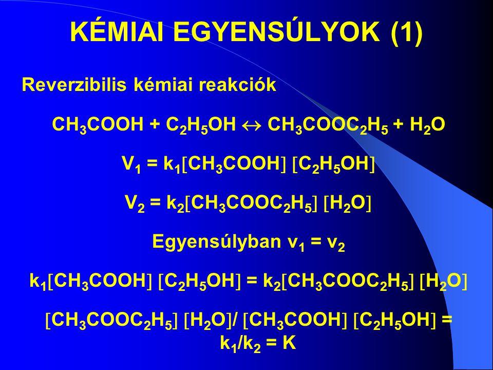 KÉMIAI EGYENSÚLYOK (1) Reverzibilis kémiai reakciók