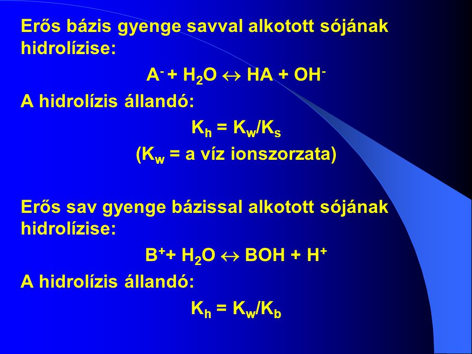(Kw = a víz ionszorzata)