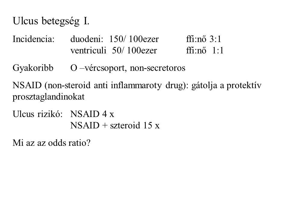 Ulcus betegség I. Incidencia: duodeni: 150/ 100ezer ffi:nő 3:1 ventriculi 50/ 100ezer ffi:nő 1:1.