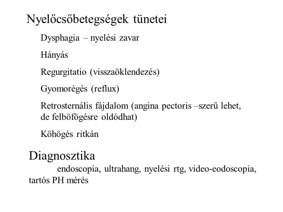 Nyelőcsőbetegségek tünetei