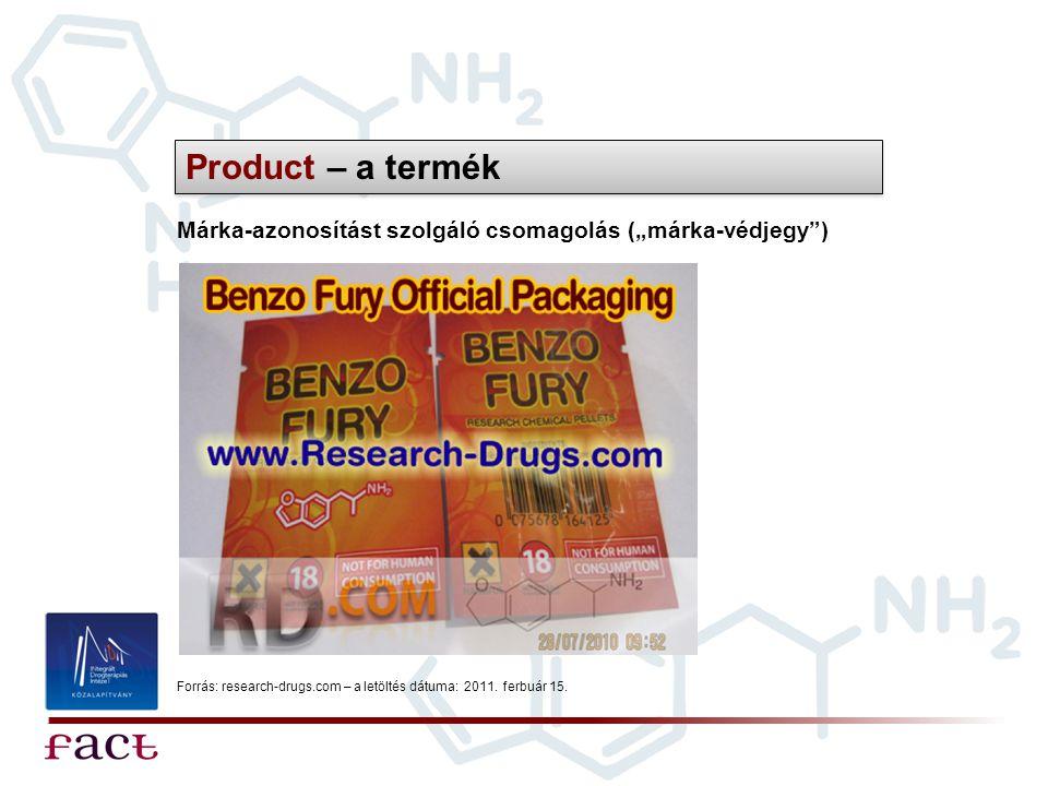 """Product – a termék Márka-azonosítást szolgáló csomagolás (""""márka-védjegy ) Forrás: research-drugs.com – a letöltés dátuma: 2011."""