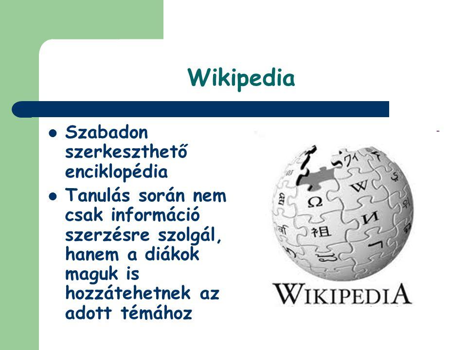 Wikipedia Szabadon szerkeszthető enciklopédia