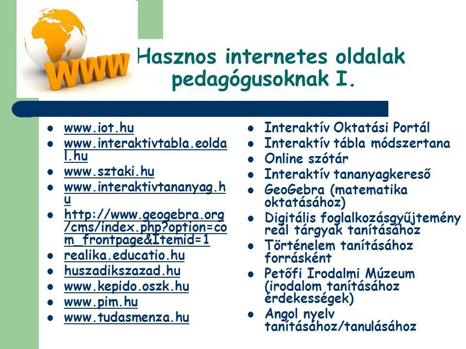 Hasznos internetes oldalak pedagógusoknak I.