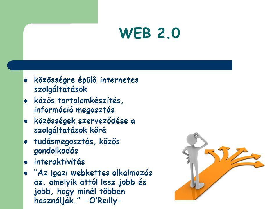 WEB 2.0 közösségre épülő internetes szolgáltatások