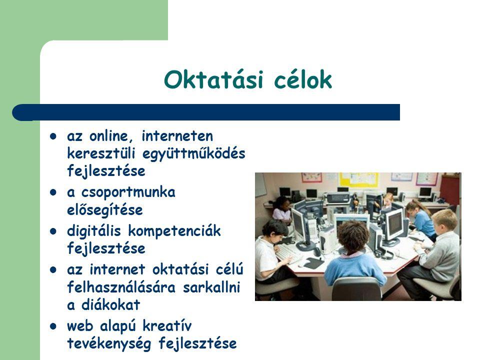 Oktatási célok az online, interneten keresztüli együttműködés fejlesztése. a csoportmunka elősegítése.