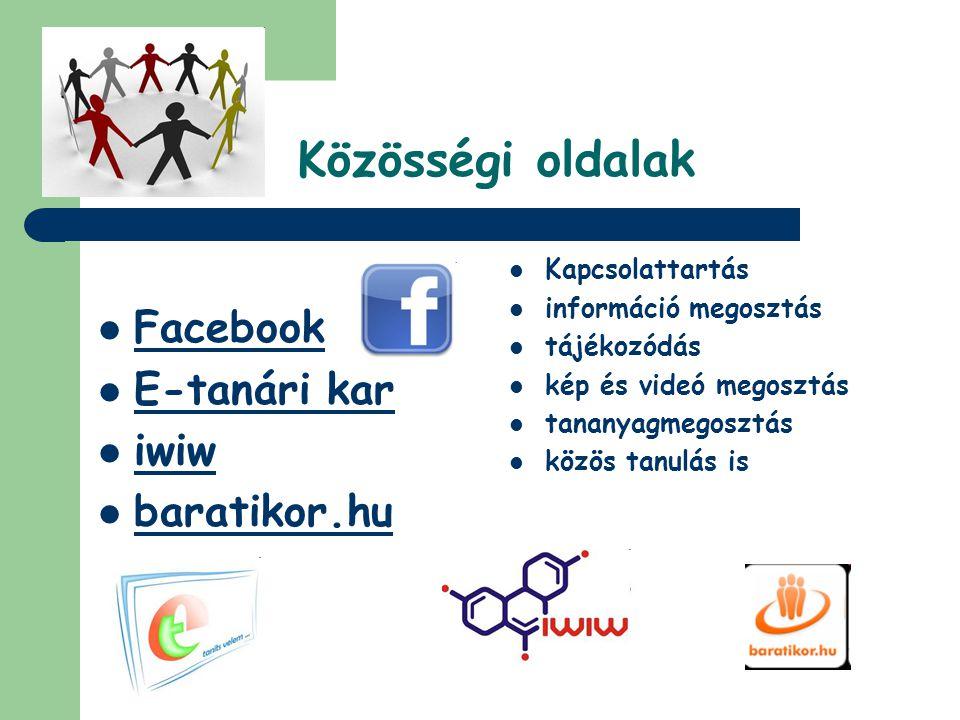 Közösségi oldalak Facebook E-tanári kar iwiw baratikor.hu