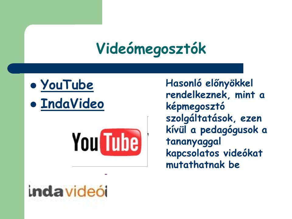Videómegosztók YouTube IndaVideo