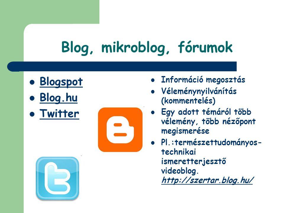 Blog, mikroblog, fórumok