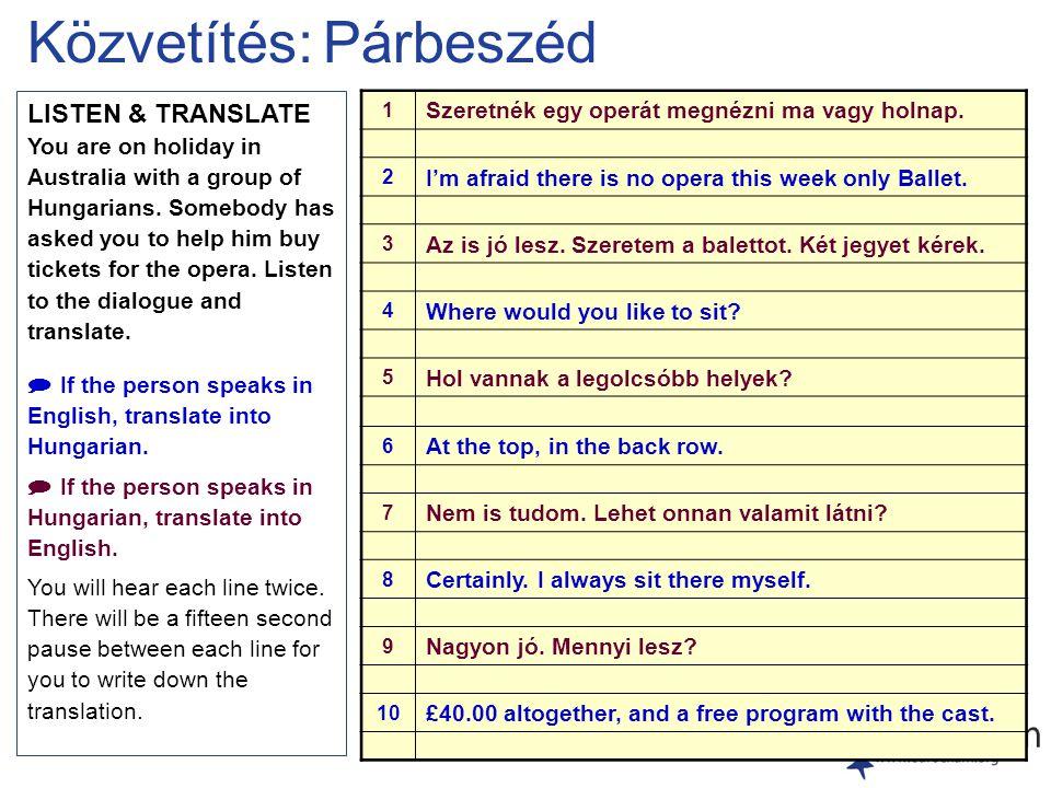 Közvetítés: Párbeszéd LISTEN & TRANSLATE