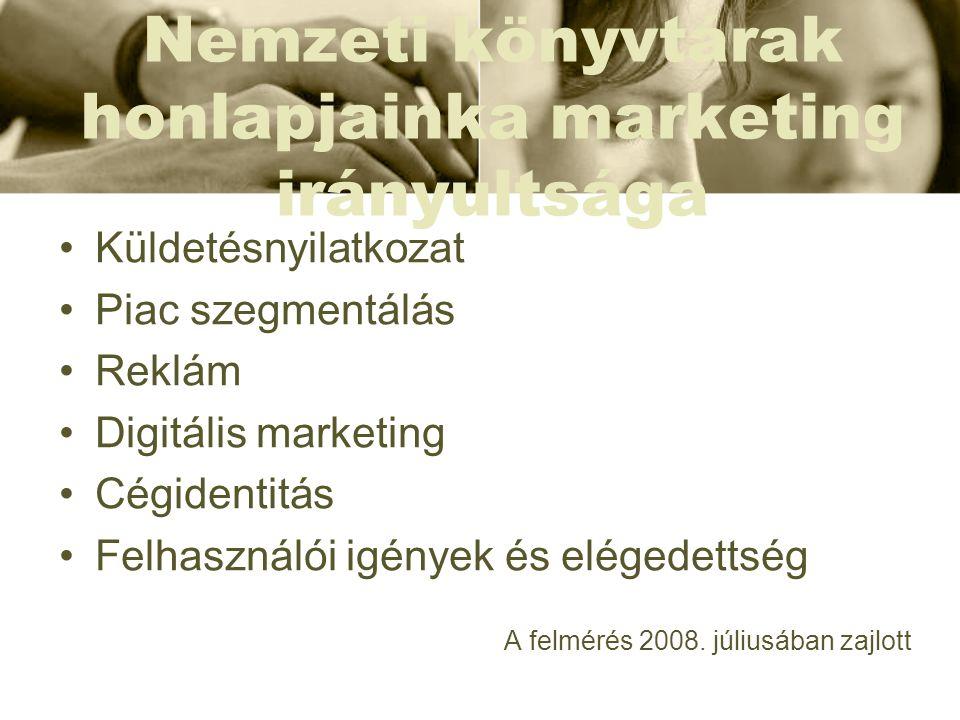 Nemzeti könyvtárak honlapjainka marketing irányultsága