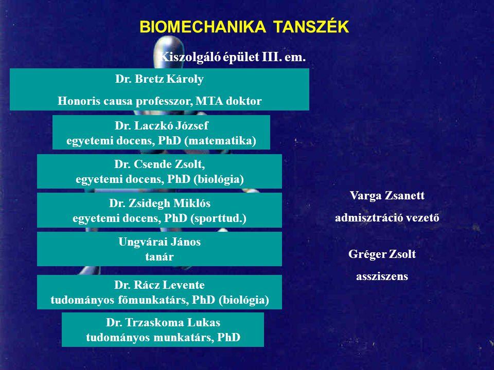 BIOMECHANIKA TANSZÉK Kiszolgáló épület III. em. Dr. Bretz Károly