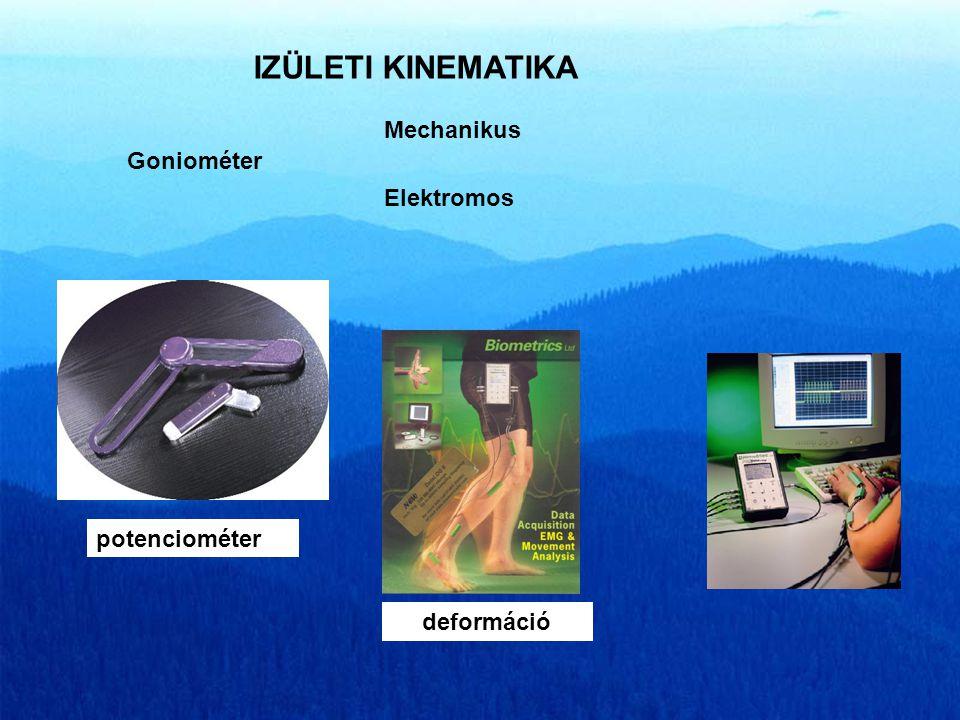 IZÜLETI KINEMATIKA Mechanikus Goniométer Elektromos potenciométer