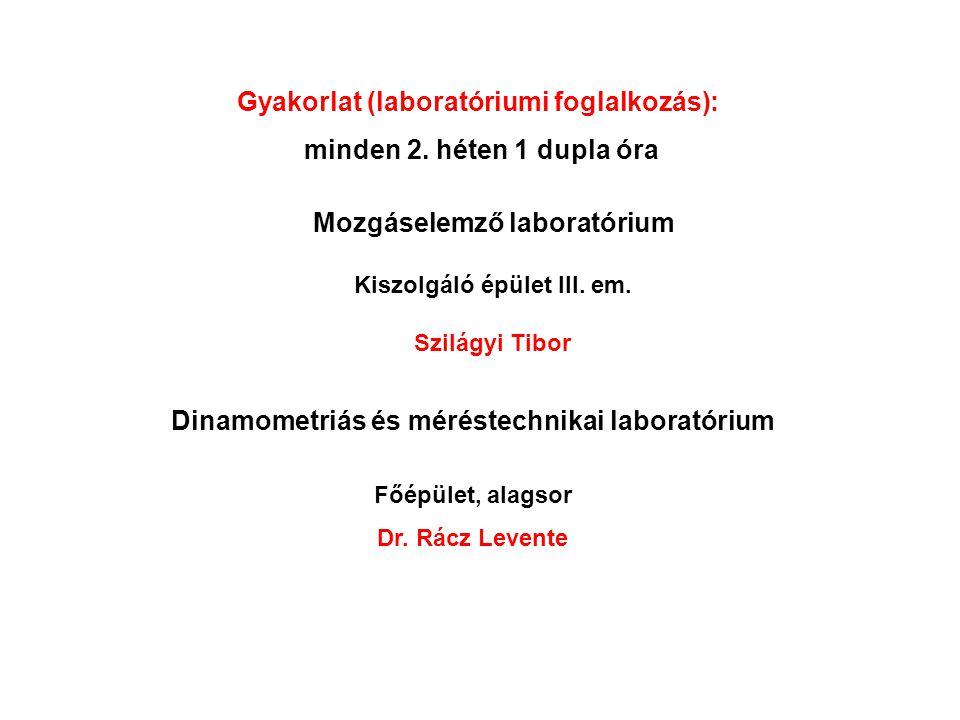 Gyakorlat (laboratóriumi foglalkozás): minden 2. héten 1 dupla óra